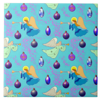 Angels in Blue – Ornaments & Trumpets Tile