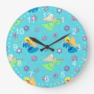 Angels in Blue – Snowflakes & Horns Round Wallclocks