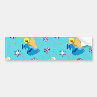Angels in Blue – Snowflakes & Trumpets Bumper Sticker