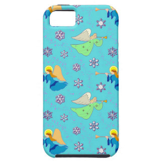 Angels in Blue – Snowflakes & Trumpets iPhone 5 Covers