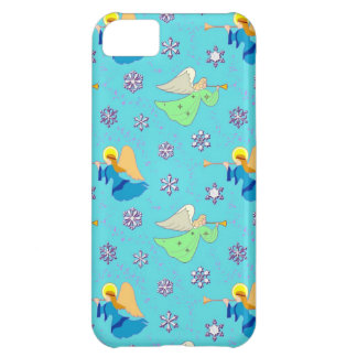 Angels in Blue – Snowflakes & Trumpets Case For iPhone 5C