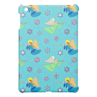 Angels in Blue – Snowflakes & Trumpets iPad Mini Covers