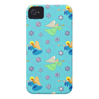 Angels in Blue – Snowflakes & Trumpets iPhone 4 Case-Mate Case