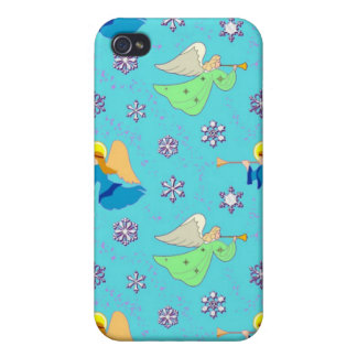 Angels in Blue – Snowflakes & Trumpets iPhone 4/4S Case
