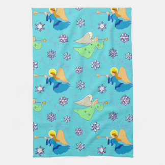 Angels in Blue - Snowflakes & Trumpets Kitchen Towel