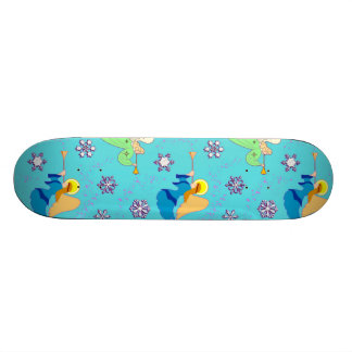Angels in Blue – Snowflakes & Trumpets Skateboard