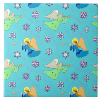 Angels in Blue – Snowflakes & Trumpets Tile