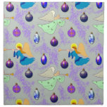 Angels in Silver - Ornaments & Trumpets Printed Napkin