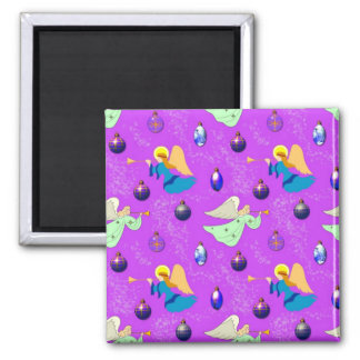 Angels in Violet – Ornaments & Trumpets 2 Inch Square Magnet