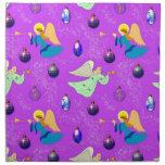 Angels in Violet - Ornaments & Trumpets Cloth Napkin