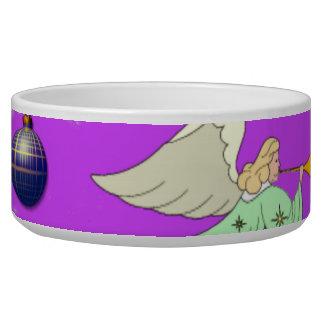 Angels in Violet – Ornaments & Trumpets Dog Food Bowls