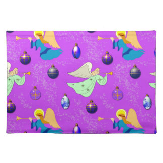 Angels in Violet - Ornaments & Trumpets Cloth Place Mat