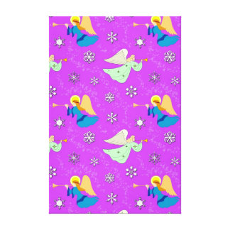 Angels in Violet - Snowflakes & Trumpets Canvas Print