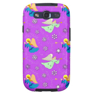 Angels in Violet - Snowflakes & Trumpets Samsung Galaxy SIII Cases