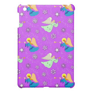 Angels in Violet - Snowflakes & Trumpets iPad Mini Covers