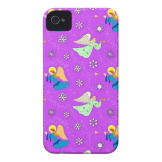 Angels in Violet - Snowflakes & Trumpets iPhone 4 Case