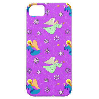 Angels in Violet - Snowflakes & Trumpets iPhone SE/5/5s Case