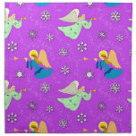 Angels in Violet - Snowflakes & Trumpets Cloth Napkins