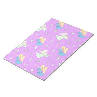 Angels in Violet - Snowflakes & Trumpets Memo Note Pad