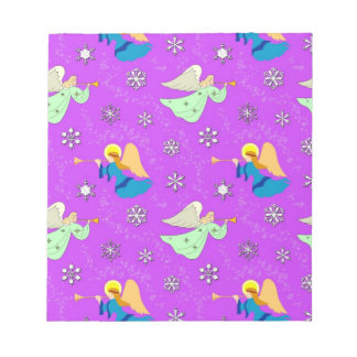 Angels in Violet - Snowflakes & Trumpets Notepads