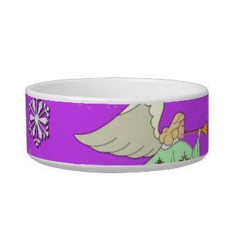 Angels in Violet - Snowflakes & Trumpets Cat Water Bowl