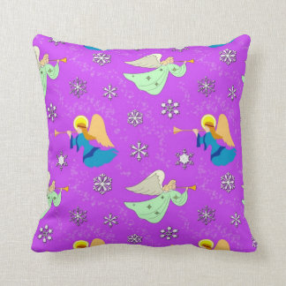 Angels in Violet - Snowflakes & Trumpets Throw Pillow