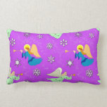 Angels in Violet - Snowflakes & Trumpets Pillow