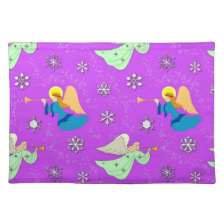 Angels in Violet - Snowflakes & Trumpets Cloth Placemat