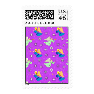 Angels in Violet - Snowflakes & Trumpets Postage Stamp