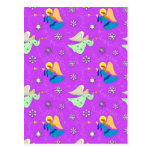Angels in Violet - Snowflakes & Trumpets Post Cards