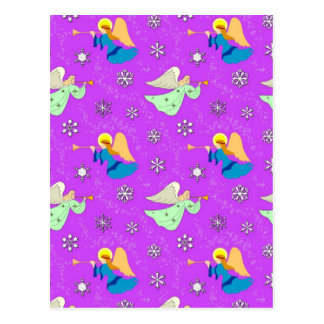 Angels in Violet - Snowflakes & Trumpets Postcard