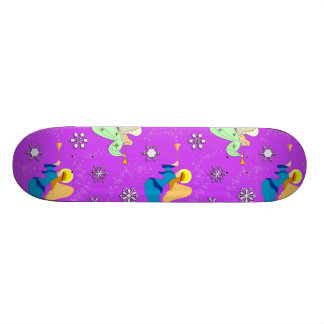 Angels in Violet - Snowflakes & Trumpets Skateboard Deck