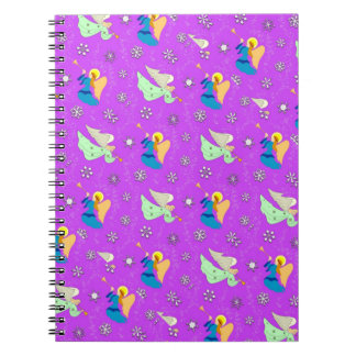 Angels in Violet - Snowflakes & Trumpets Spiral Notebook
