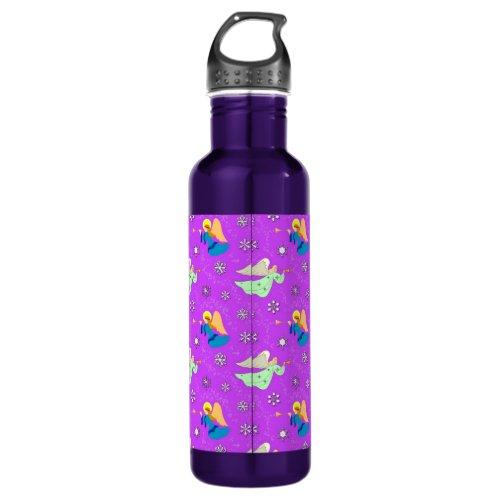 Angels in Violet - Snowflakes & Trumpets Stainless Steel Water Bottle
