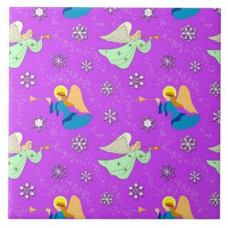 Angels in Violet - Snowflakes & Trumpets Tile
