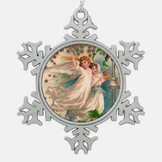 Angels in White with Silver Bell & Golden Harp Snowflake Pewter Christmas Ornament