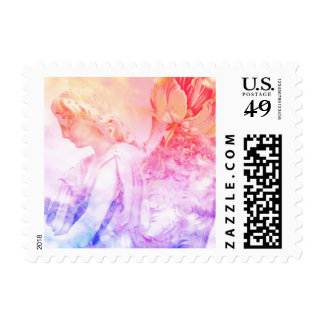 Angels in your Mailbox! - lovely pastel floral Postage Stamp
