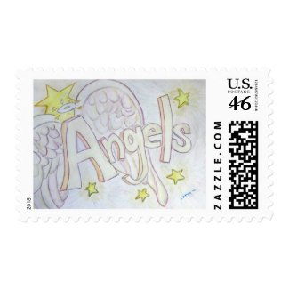 Angels Inspirational Word Painting Postage Stamp