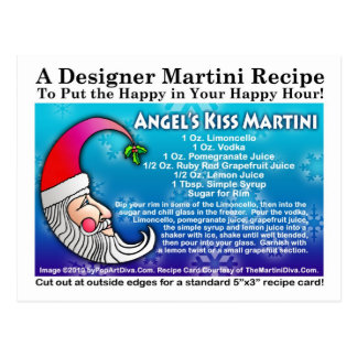 Angel's Kiss Christmas Martini Recipe Postcard