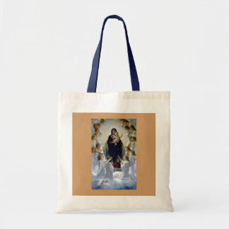Angels madona baby christian religion clouds tote bag