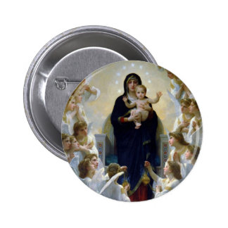 Angels madona baby christian religion clouds pinback buttons