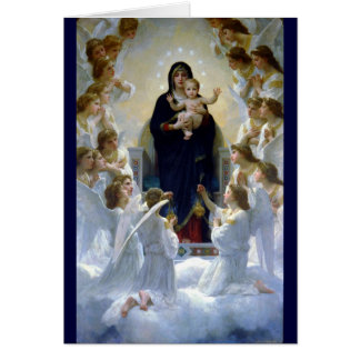 Angels madona baby christian religion clouds greeting cards