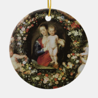 Angels, Madonna and Child, Peter Paul Rubens Double-Sided Ceramic Round Christmas Ornament