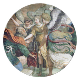 Angels Man Saving Antique Painting Plate