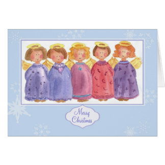 Angels Merry Christmas Friends Watercolor Card