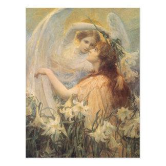 Angel's Message, Swinstead, Vintage Victorian Art Post Card