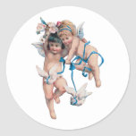 ANGELS OF PEACE ON EARTH GOOD WILL TOWARD MEN ROUND STICKER