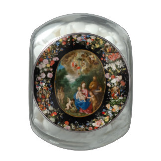 Angels Offering Gifts Glass Candy Jar
