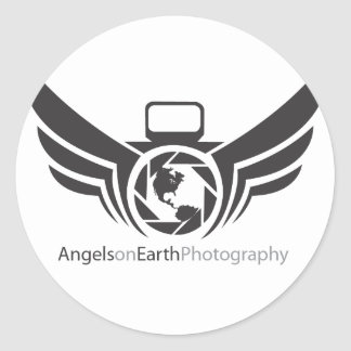 Angels on Earth photography logo Black.pdf Classic Round Sticker