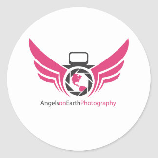 Angels on Earth photography logo Pink.pdf Classic Round Sticker